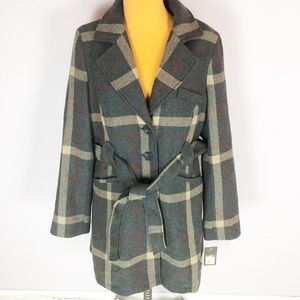 Merona Gray Tan Plaid Belted Topcoat Jacket